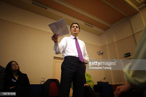 Bolton South East MP Yasmin Qureshi looks on as David Milliband addresses party members in Bolton Town Hall as part of his leadership tour of the...