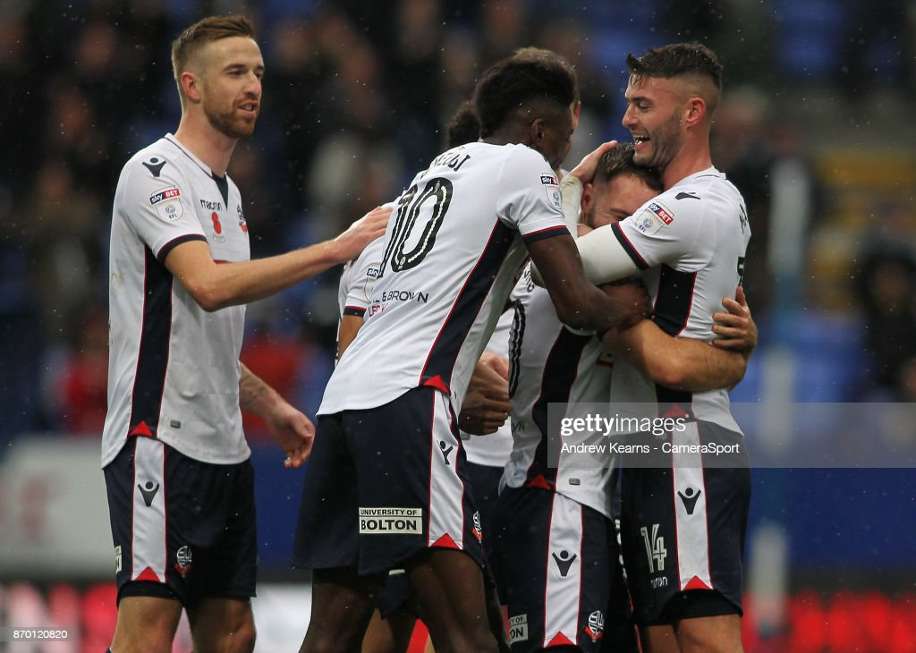 Bolton Wanderers' Adam Armstrong celebrates scoring his side's second goal during the Sky Bet Championship match between Bolton Wanderers and Norwich City at Macron Stadium on November 4, 2017 in Bolton, England.