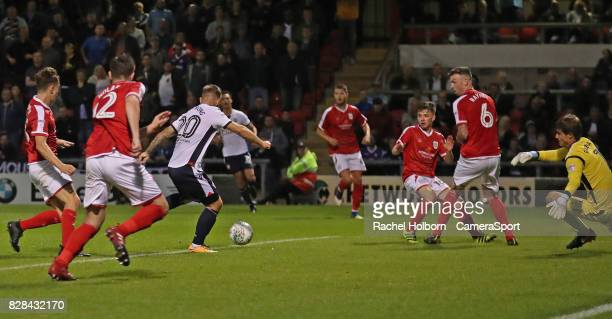 Bolton Wanderers' Adam Armstrong scores his sides first goal during the Carabao Cup First Round match between Crewe Alexandra and Bolton Wanderers at...