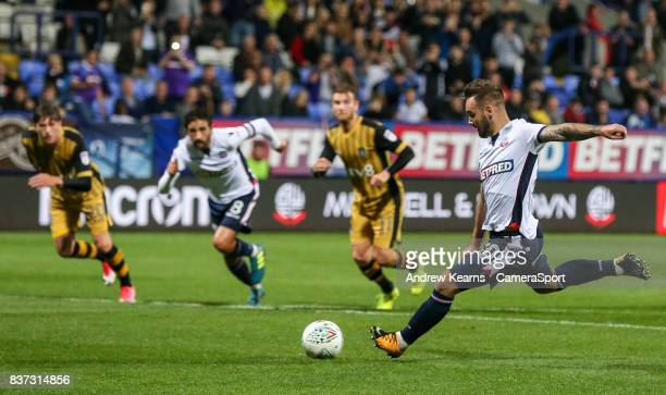 Bolton Wanderers' Adam Armstrong scores their second goal from the penalty spotduring the Carabao Cup Second Round match between Bolton Wanderers and...