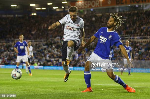 Bolton Wanderers' Adam Armstrong shoots at goal during the Sky Bet Championship match between Birmingham City and Bolton Wanderers at St Andrews...