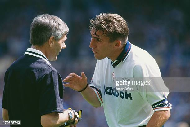 Bolton Wanderers captain Alan Stubbs argues with referee Peter Foakes over a penalty decision during the First Division play off final against...