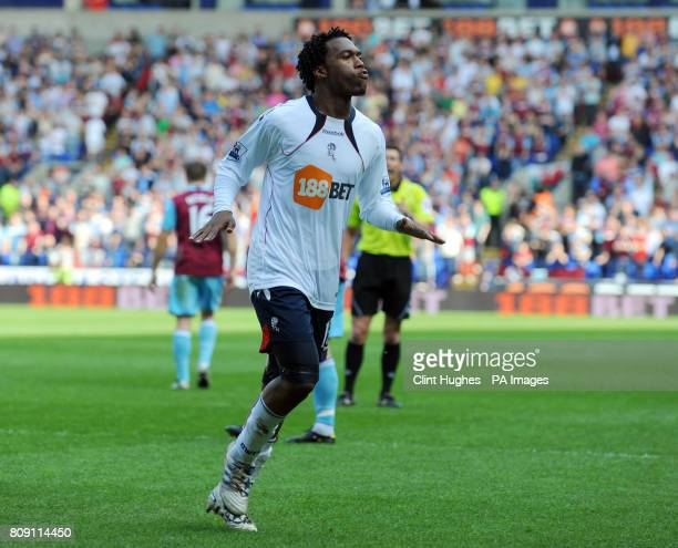 Bolton Wanderers' Daniel Sturridge celebrates after he scored his sides third goal during the Barclays Premier League match at the Reebok Stadium...