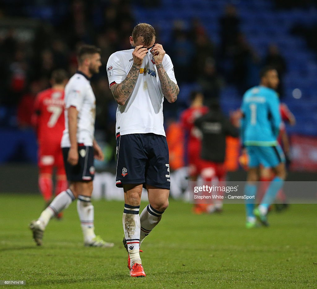 Bolton Wanderers' David Wheater shows his dejection at the final whistle after his team lost 2-1 after leading 1-0 during the Sky Bet League One match between Bolton Wanderers and Swindon Town at Macron Stadium on January 14, 2017 in Bolton, England.