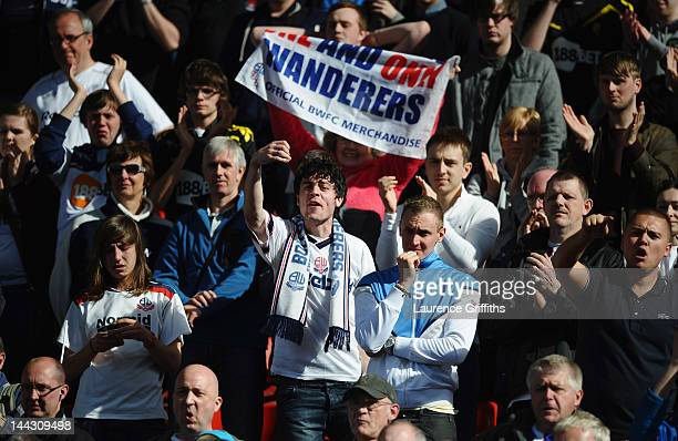 Bolton Wanderers fans react as they are relegated during the Barclays Premier League match between Stoke City and Bolton Wanderers at Britannia...