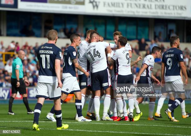 Bolton Wanderers' Filipe Morais congratulated after scoring his sides equalising goal to make the score 11 during the Sky Bet Championship match...