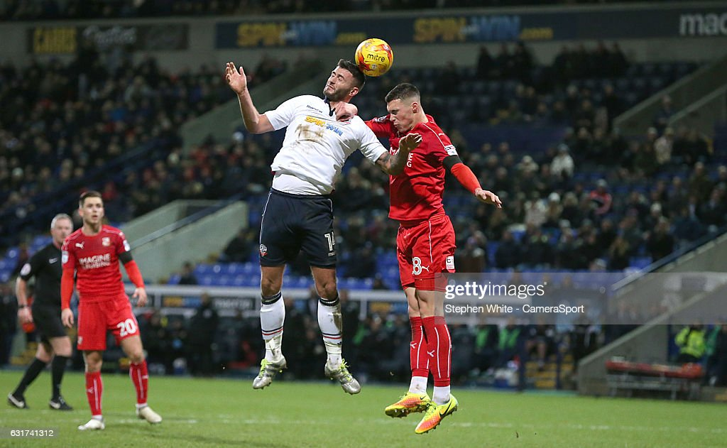 Bolton Wanderers' Gary Madine battles with Swindon Town's Lloyd Jones during the Sky Bet League One match between Bolton Wanderers and Swindon Town at Macron Stadium on January 14, 2017 in Bolton, England.