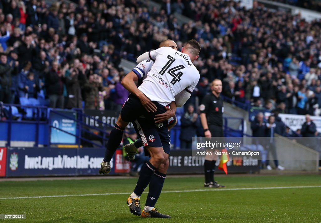 Bolton Wanderers' Gary Madine celebrates scoring his side's first goal during the Sky Bet Championship match between Bolton Wanderers and Norwich City at Macron Stadium on November 4, 2017 in Bolton, England.