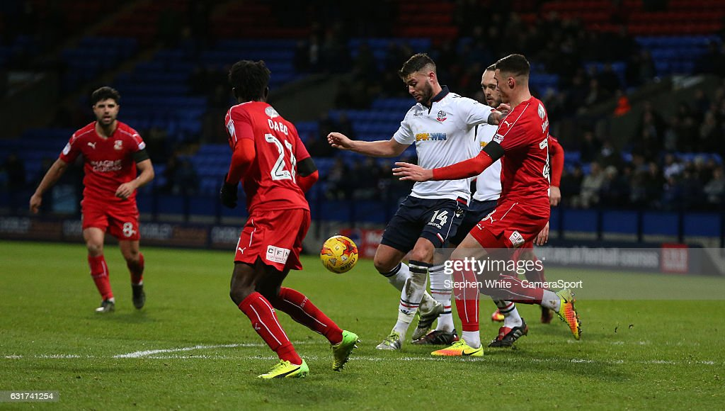 Bolton Wanderers' Gary Madine fights to get himself a shooting opportunity during the Sky Bet League One match between Bolton Wanderers and Swindon Town at Macron Stadium on January 14, 2017 in Bolton, England.
