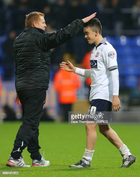 Bolton Wanderers manager Neil Lennon congratulates match winner Bolton Wanderers' Zach Clough at the final whistle