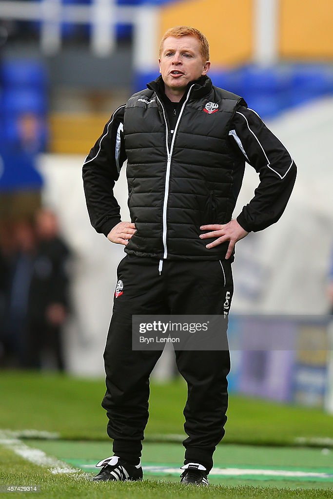 Bolton Wanderers Manager Neil Lennon looks on during the Sky Bet Championship match between Birmingham City and Bolton Wanderers at St Andrews on...