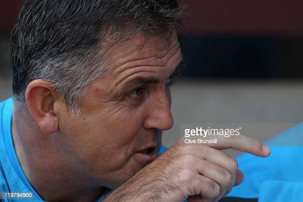 Bolton Wanderers manager Owen Coyle in action on the bench prior to the pre season friendly match between Bradford City and Bolton Wanderers at Coral...
