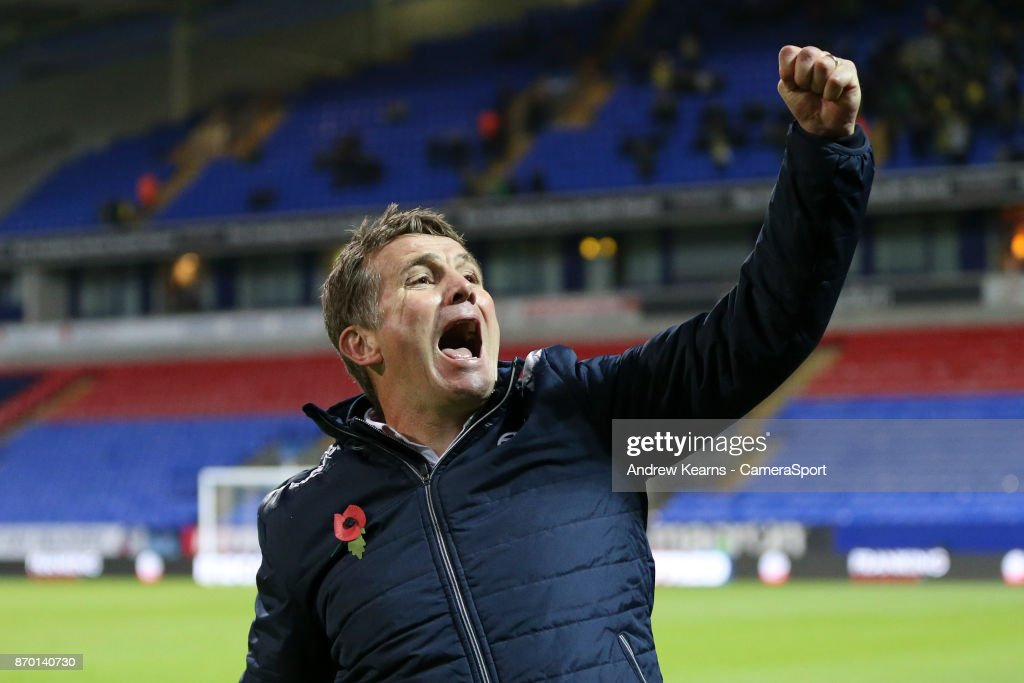 Bolton Wanderer's manager Phil Parkinson celebrates a 2-1 victory at the end of the match during the Sky Bet Championship match between Bolton Wanderers and Norwich City at Macron Stadium on November 4, 2017 in Bolton, England.