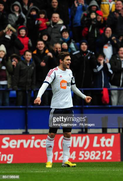 Bolton Wanderers' Marcos Alonso celebrates after scoring his side's first goal during the npower Football League Championship match at The Reebok...
