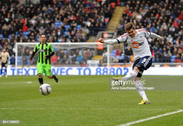 Bolton Wanderers' Marcos Alonso scores his side's first goal during the npower Football League Championship match at The Reebok Stadium Bolton