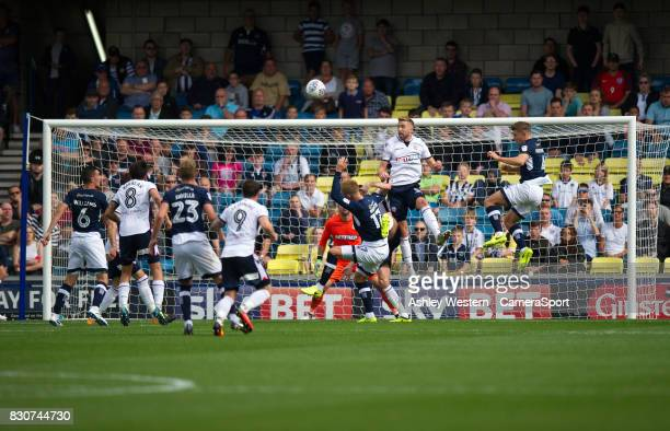 Bolton Wanderers' Mark Beevers clears the ball during the Sky Bet Championship match between Millwall and Bolton Wanderers at The Den on August 12...