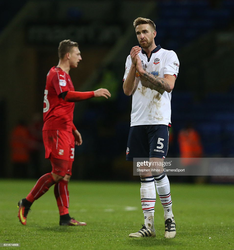 Bolton Wanderers' Mark Beevers shows his disappointment at the final whistle as he applauds the fans during the Sky Bet League One match between Bolton Wanderers and Swindon Town at Macron Stadium on January 14, 2017 in Bolton, England.