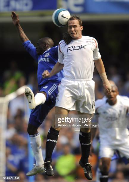 Bolton Wanderers' Matthew Taylor and Chelsea's Claude Makelele battle for the ball