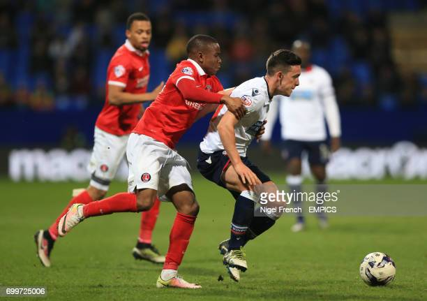 Bolton Wanderers' Zach Clough and Charlton Athletic's Ademola Lookman battle for the ball
