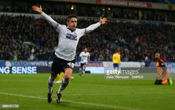 Bolton Wanderers' Zach Clough celebrates scoring his sides first goal of the match