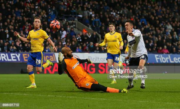 Bolton Wanderers' Zach Clough scores his sides first goal of the match