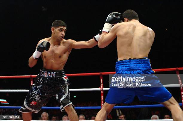 Bolton's Amir Khan in action against France's Mohammed Medjani during the LightWelterweight fight at the Wembley Arena London