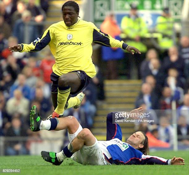 Bolton's Bernard Mendy avoids a tackle from Blackburn's Tugay during the FA Barclaycard Premiership match at Ewood Park Blackburn THIS PICTURE CAN...