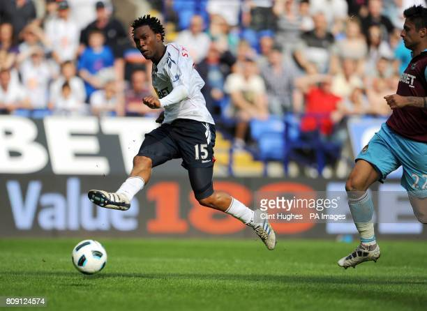 Bolton's Daniel Sturridge has a shot on goal during the Barclays Premier League match at the Reebok Stadium Bolton
