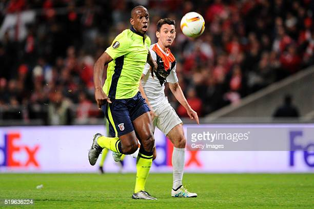 Boly of SC Braga challenges Facundo Ferreyra of Shakhtar Donetsk during the UEFA Europa League Quarter Final first leg match between SC Braga and...