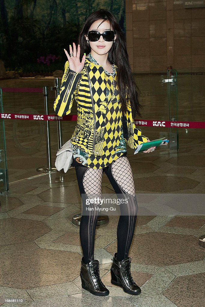 Bom of South Korean girl group 2NE1 is seen upon arrival at Gimpo International Airport on May 10, 2013 in Seoul, South Korea.