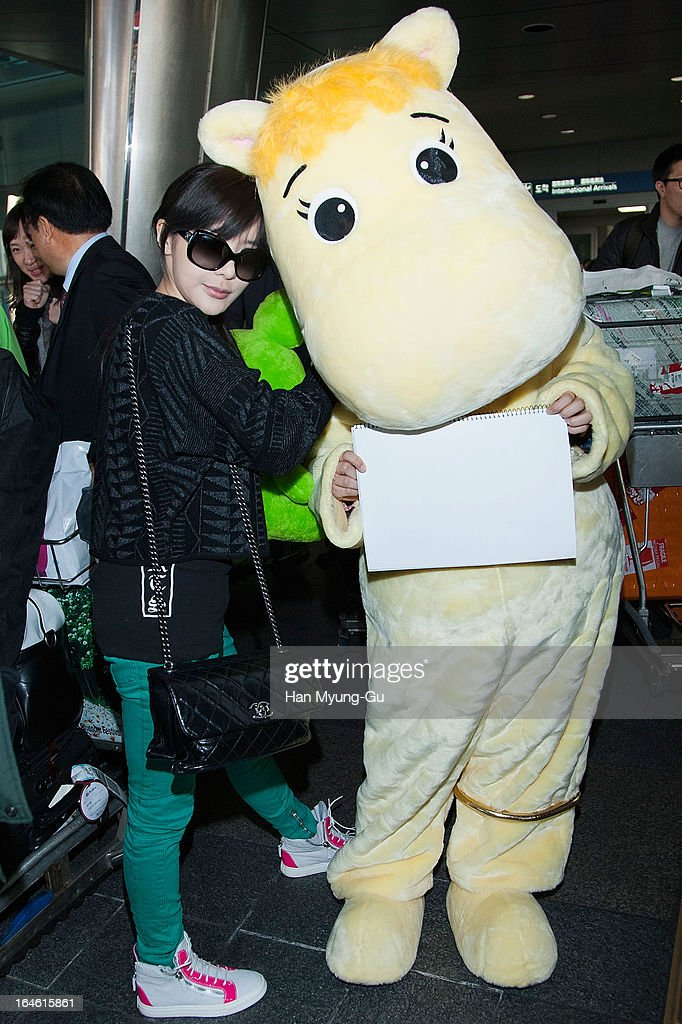 Bom of South Korean girl group 2NE1 is seen upon arrival at Incheon International Airport on March 25, 2013 in Incheon, South Korea.