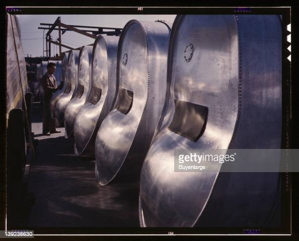 Bomb bay gasoline tanks for long flights of B25 bombers await assembly in the plant of North American Aviation Inc Inglewood California 1942