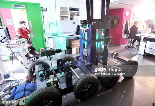 A bomb blast simulation rig is seen at the Department of Bioengineering at Imperial College London during the launch of a new pound8million drive to...