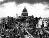 Bomb damage around St Paul's Cathedral in the City of London