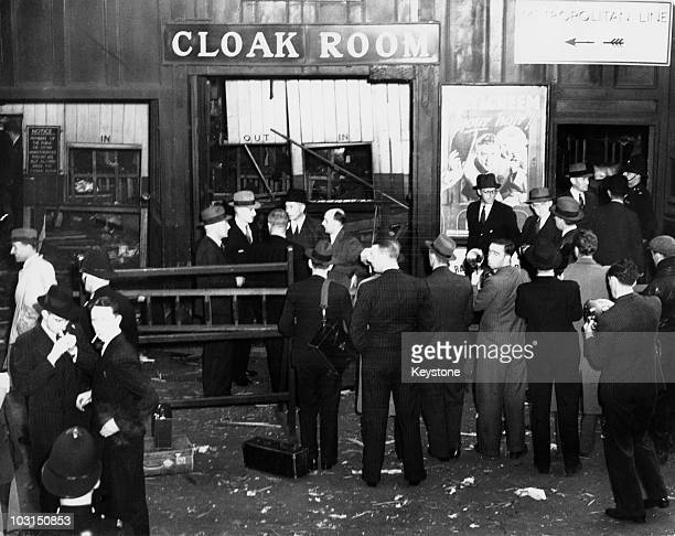 Bomb damage at Kings Cross railway station London after an Irish Republican Army bomb exploded in the leftluggage area killing one man 26th July 1939...