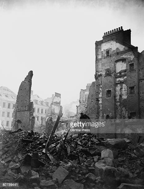 Bomb damage caused by a World War II air raid on Paternoster Row London 29th December 1940
