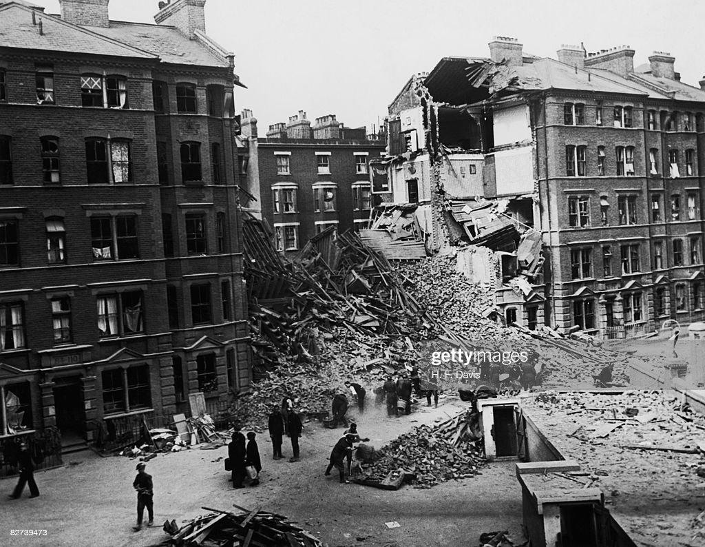 Bomb damage caused by a World War II air raid on south London, 12th September 1940.