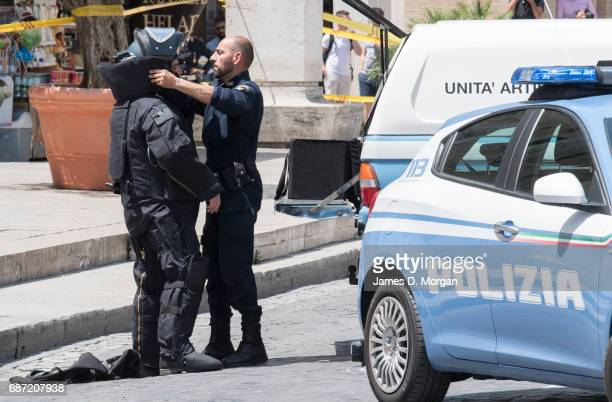 Bomb disposal officers from the Italian police prepare to inspect a suspect package near the Vatican on May 23 2017 in Vatican City Vatican Security...