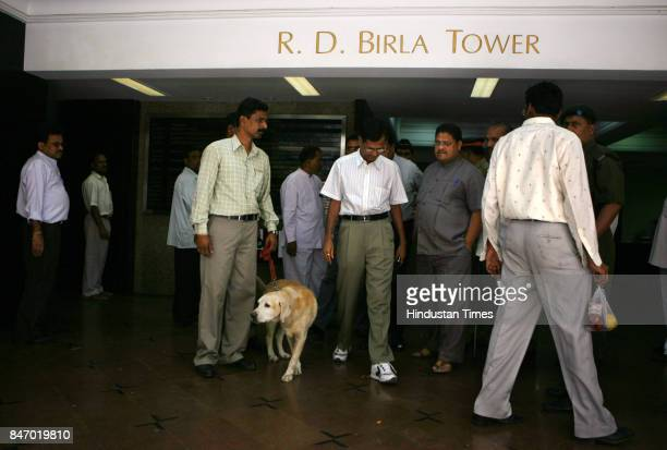 Bomb disposal squad personnel during a search operation after a bomb hoax call at Bombay Hospital