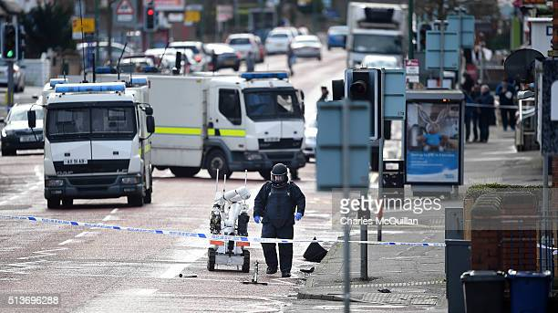 A bomb disposal unit officer at the scene following a suspected car bomb attack on a prison officer at Hillsborough Drive on March 4 2016 in Belfast...