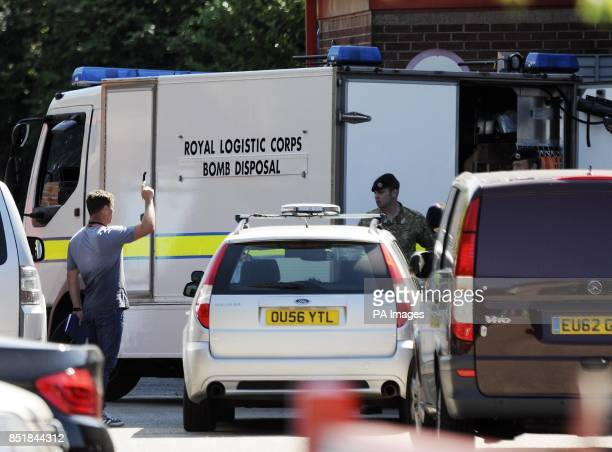 A bomb disposal van at an industrial unit which is the headquarters of software company Delcam in Small Heath Birmingham following the questioning...