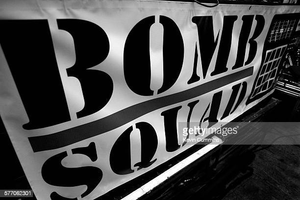 Bomb Squad banner on stage on Public Enemy on the Don't Look Back tour UEA Norwich United Kingdom 22 May 2008