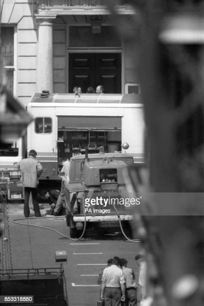 Bomb squad officers and other activity outside the Libyan People's Bureau in St James's Square London