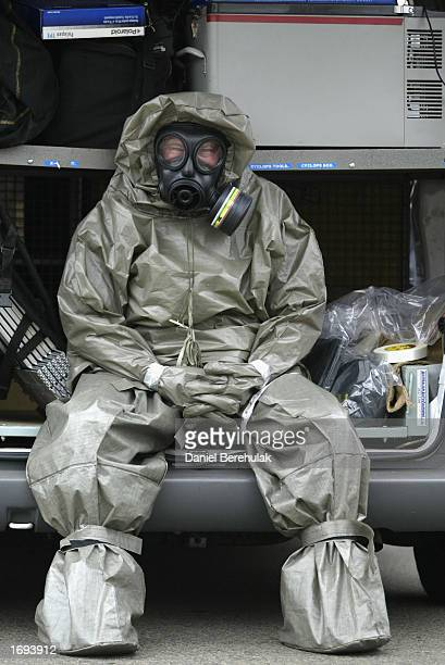 A bomb technician focuses before the training drill during the New South Wales anti Terrorist Unit's mock counter terror operation at a training...