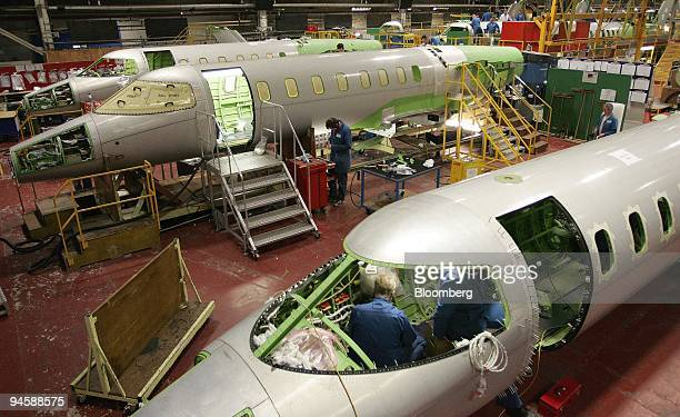 Bombardier aircraft electricians work on Learjet 40 XR aircraft on the production line in Belfast Northern Ireland on Monday Jan 21 2008 Bombardier...