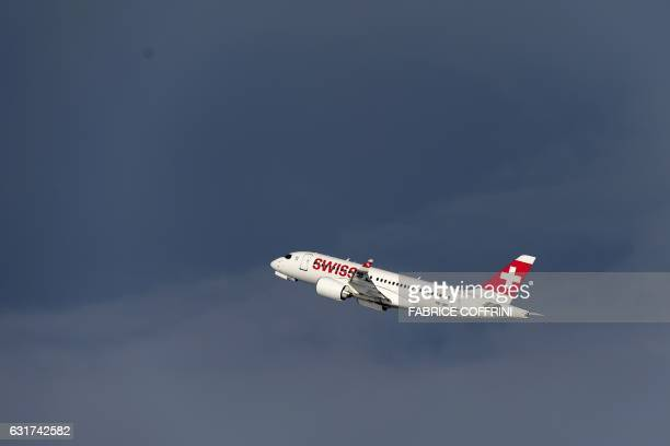A Bombardier CSeries CS100 commercial plane of Swiss International Air Lines takes off on January 15 2017 at Zurich Airport / AFP / FABRICE COFFRINI