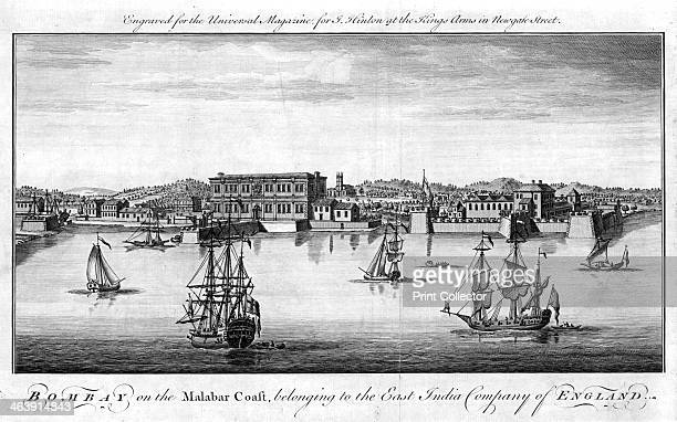 Bombay the East India Company's port on the Malabar Coast of India 1755 Company trading vessels are in the foreground and quayside warehouses and...