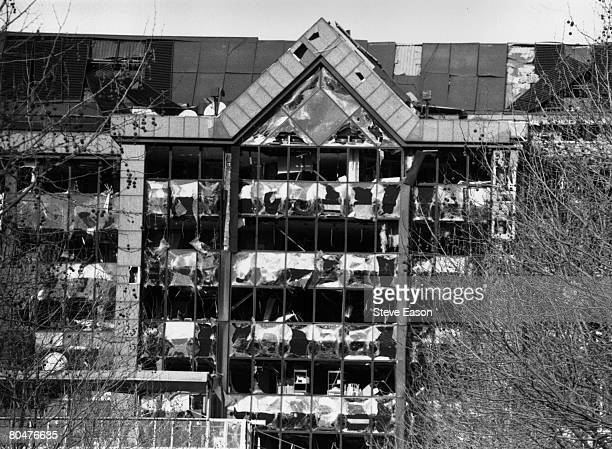 A bombdamaged building at Canary Wharf in London's Docklands after the explosion of an IRA bomb that signalled the end of the ceasefire 15th February...