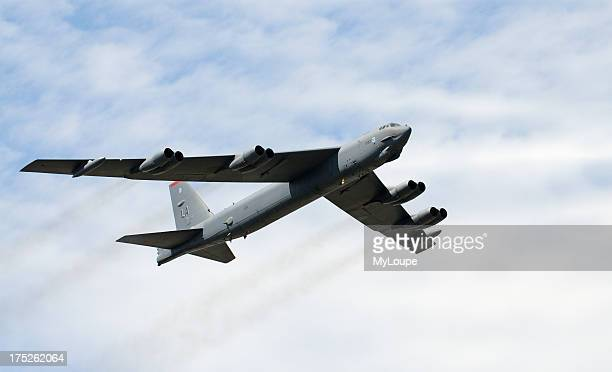 B 52 bomber aircraft in flight over southern England UK