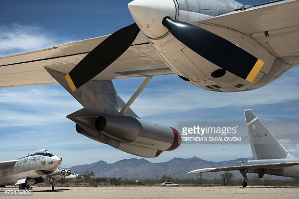 A B47 bomber and B52 bomber are seen below the wing of a Convair B36J Peacemaker Strategic Bomber at Pima Air and Space Museum May 13 2015 in Tucson...